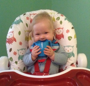 lucas in his highchair chewing on the doidy cup